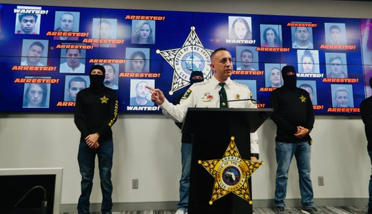 Lee County Sheriff, Carmine Marceno addressed the media regarding a narcotics investigation called Operation Checkmate Thursday morning at LCSO Headquarters. 18 people were arrested and they are looking for 4 suspects.