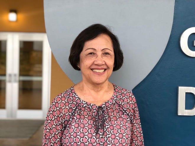 Maria Gutierrez, Guam Education Board member, receives the 2020 Distinguished Service Award.