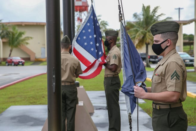 U.S. Marines assigned to Marine Corps Base Camp Blaz conduct the first flag raising of the new command, marking the initial operation capability of the base in Dededo, Guam, Oct. 1, 2020. MCB Camp Blaz is the first Marine Corps base activated since the commissioning of Marine Corps Logistics Base Albany, Georgia on March 1, 1952.