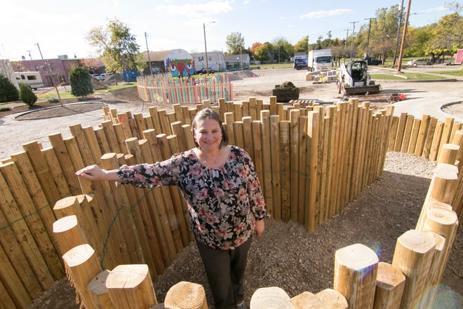 The new Howell park where Howell Main Street Director Kate Litwin stands Thursday, Oct. 8, 2020 includes the labyrinth.