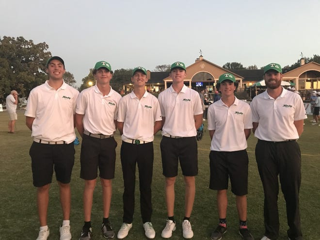 Trinity golfers, from left, Peyton Bonny, Michael Long, Charlie Morgan, Derek Limberg and Ben Wulkopf and coach James Chaney helped the program win their first state title since 2003.