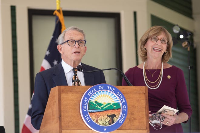 Ohio Gov. Mike DeWine and First Lady Fran DeWine made a stop in Marion, Ohio, on Thursday, Oct. 8, 2020, to conduct a press conference about the coronavirus pandemic. The governor and first lady held the event at the Warren G. Harding Home on Mount Vernon Avenue in Marion. The Ohio History Connection has been conducting a massive renovation project at the home.