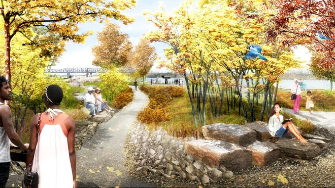 This rendering of the proposed changes to Tom Lee Park shows the area around the Tom Lee Memorial.
