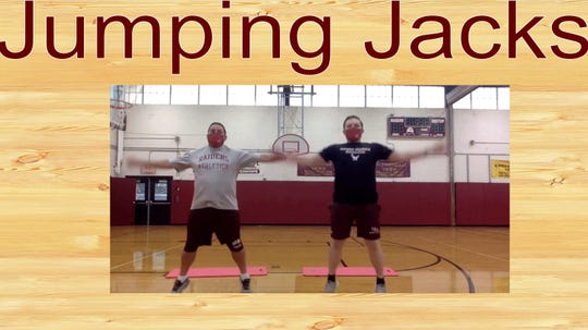 John LaRusso, a physical education teacher at Janis E. Dismus Middle School in Englewood, created a workout GIFs for students. He and his colleagues demonstrate workouts for students to do themselves.