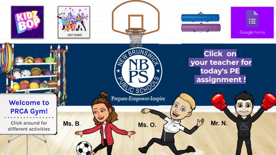 Jennifer Olawski, a physical education teacher at the Paul Robeson Community School for the Arts in New Brunswick, created this virtual gym with her colleagues for her elementary and middle school students. Students can click different links in the classroom to access lessons or workouts they can do in their spare time. The classroom also features teachers Andrew Novod and Chelsea Buttacavoli.