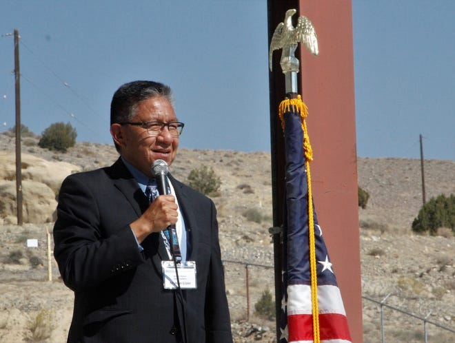 Navajo Nation Vice President Myron Lizer talks, Thursday, Oct. 8, 2020, at PESCO Inc. in Farmington.