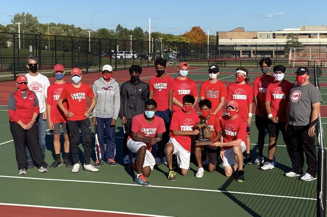Canton boys tennis wins a district title.