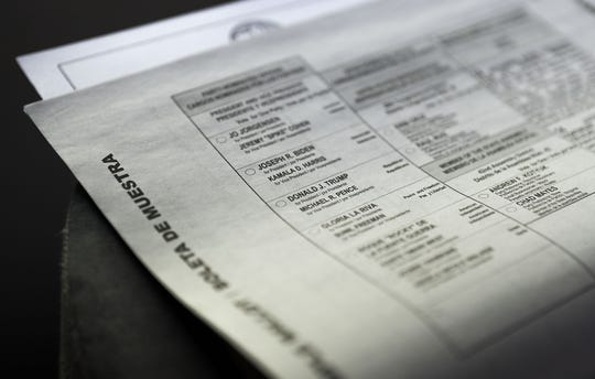 A sample ballot was included in the County Voter Information Guide in the mail from the County of Riverside Registrar of Voters for the presidential election on November 3, 2020.