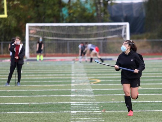 Roy C. Ketcham's Violeta Francese runs a drill during Wednesday's Field Hockey practice on October 7, 2020.