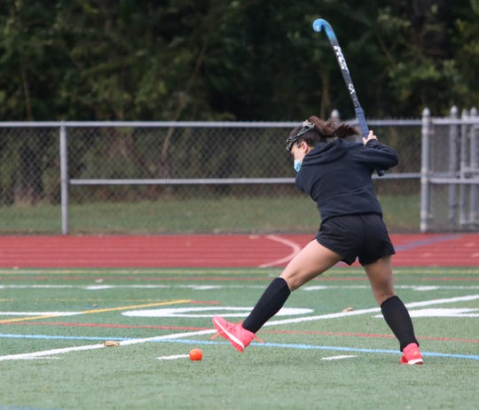 Roy C. Ketcham's Violeta Francese takes a shot during Wednesday's Field Hockey practice on October 7, 2020.