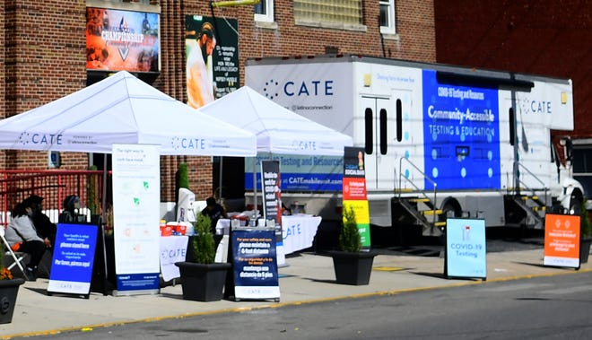 The CATE (Community-accessible, testing and education) mobile unit served the public at Lincoln Charter School annex at 459 W. King St. Thursday, Oct. 8, 2020. The free COVID-19 testing and educational site was in York Thursday and Friday. Information on CATE, including its tour schedule, is at catemobileunit.com. The mobile unit is sponsored by Latino Connection and the PA Dept. of Health. Bill Kalina photo
