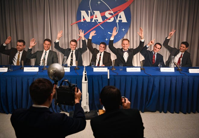"From left, Micah Stock as Deke Slayton, Jake McDorman as Alan Shepard, Aaron Staton as Wally Schirra, Michael Trotter as Gus Grissom, Patrick J. Adams as John Glenn, Colin O'Donoghue as Gordon Cooper and James Lafferty as Scott Carpenter in National Geographic's ""The Right Stuff"" on Disney+. (Gene Page/National Geographic)"