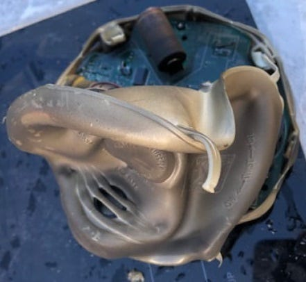 This is one of the smoke detectors that York Area United Fire and Rescue officials said saved the lives of a Springettsbury Twp. family and their dogs on Thursday, Oct. 8, 2020. Despite the damage to this detector, it was still able to keep beeping, officials said.