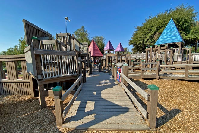 The Kids Kingdom Playground in San Angelo, seen here in this Wednesday, Oct. 7, 2020 photo, is showing signs of wear according to city parks staff.