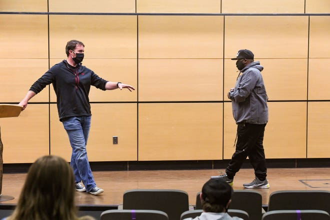 Lieutenant Jon Thum invites Vaney Hariri to speak to his criminal justice students about law enforcement and race on Wednesday, October 7, at the University of Sioux Falls.