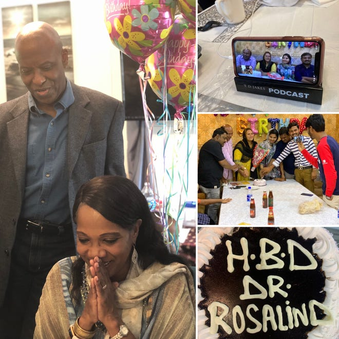 Rosalind's virtual birthday party with family in Pakistan.