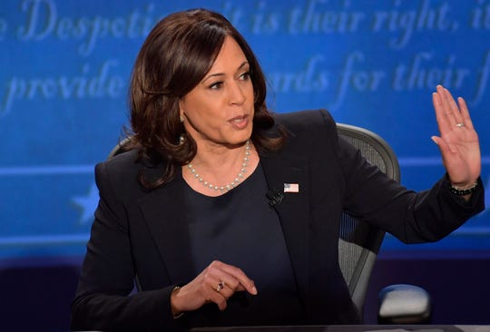Sen. Kamala Harris speaks on stage.
