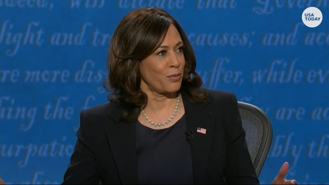 Sen. Kamala Harris discusses her law enforcement and criminal justice record during the vice presidential debate on Oct. 7.