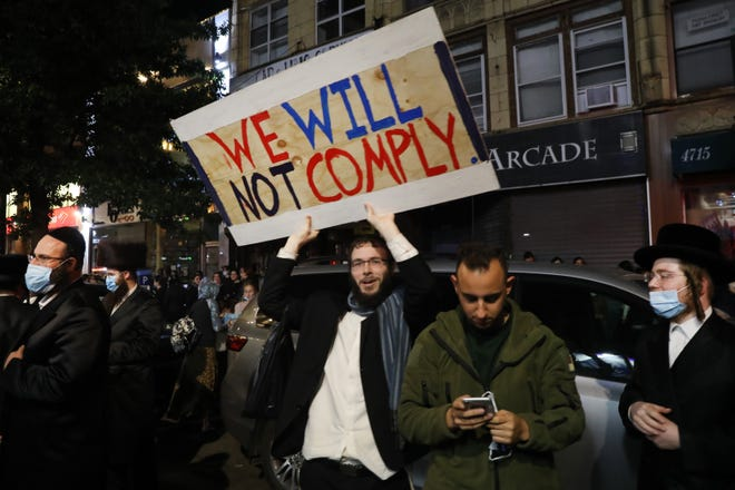 Protesters angry at the COVID lockdown -- Borough Park, Brooklyn, on Oct. 7.  This was a year of both pandemic and political division