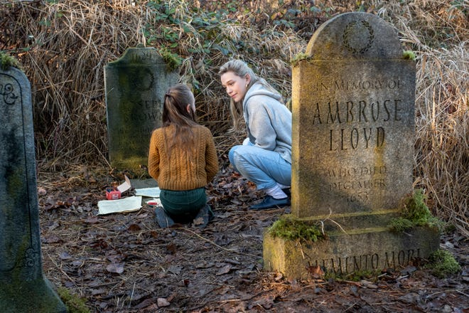 "Flora (Amelie Smith, left) and Dani (Victoria Pedretti) visit the estate cemetery in Netflix's ""The Haunting of Bly Manor."""