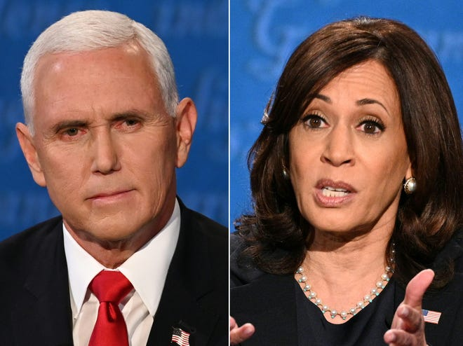 Vice President Mike Pence (left) and Democratic vice presidential nominee Kamala Harris (right) during their debate in Kingsbury Hall at the University of Utah.