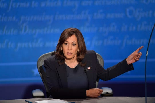 Oct 7, 2020; Salt Lake City, UT, USA; Sen. Kamala Harris speaks on stage during the Vice Presidential debate between Republican nominee Vice President Mike Pence and Democratic nominee Sen. Kamala Harris held at Kingsbury Hall at The University of Utah. Susan Page, Washington Bureau Chief for USA TODAY, is the moderator.