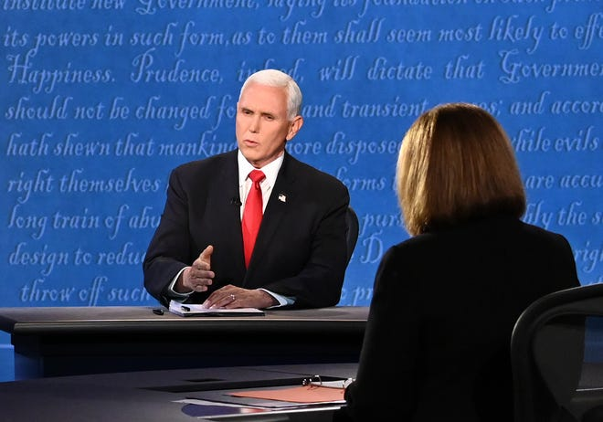 US Vice President Mike Pence speaks during the vice presidential debate.