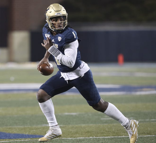 University of Akron quarterback Kato Nelson is back healthy after missing the 2020 season with a shoulder injury. [Mike Cardew/Beacon Journal]