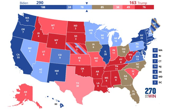 A map showing the combined results of many polls shows Donald Trump's re-election bid is in serious trouble.