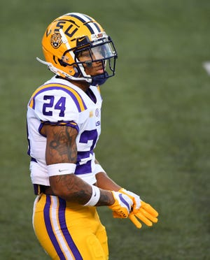 LSU cornerback Derek Stingley leads the Southeastern Conference in punt returns with a 16.2-yard average per return, but he was injured on a punt return on Saturday at Arkansas.