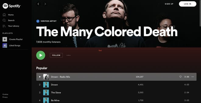 The Many Colored Death's Spotify landing page. [Screenshot]