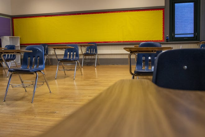 An empty classroom at Southwood Elementary School on the city's South Side on Thursday. Columbus City Schools is preparing to return students to buildings part-time on Oct. 19.