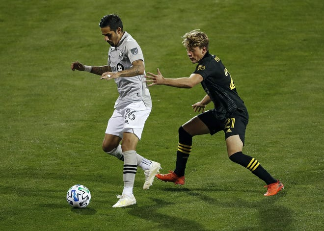 Aidan Morris, right, the Crew's 18-year-old midfielder, made his first career start on Wednesday against Montreal as Columbus has had to test its depth because of injuries. Kyle Robertson/Columbus Dispatch