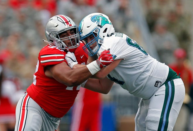 Ohio State nose guard Tommy Togiai is regarded as the strongest player on the team and is counted on to become a consistent force this season.