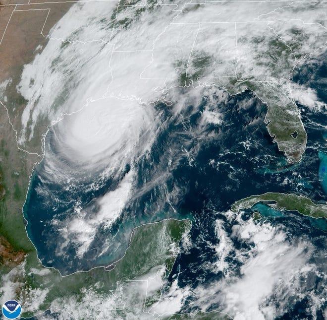 Hurricane Delta approaches Louisiana.
