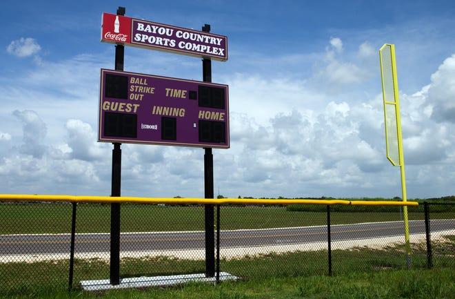 One of the scoreboards at the Bayou Country Sports Park in Houma.