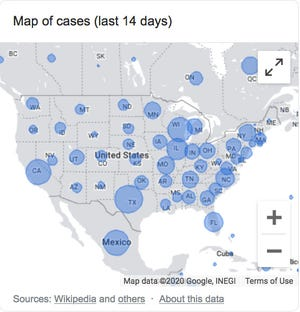 This map shows where cases of COVID-19 are popping up in North America, the larger the bubble, the larger the number of cases.