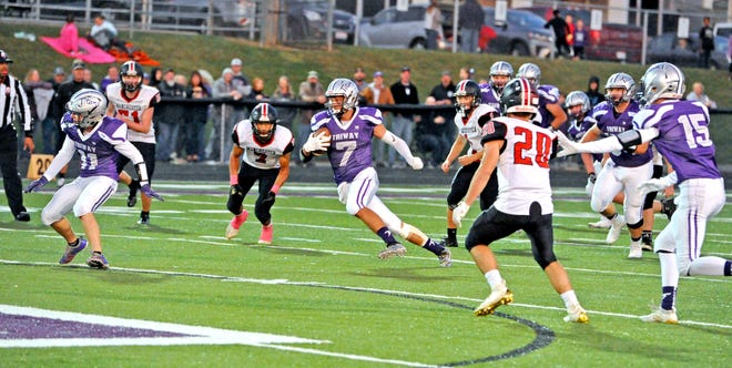 Triway's Tyler Davis scores a touchdown during his junior season. Davis has 30 career TDs while playing 26 games as an offensive player.