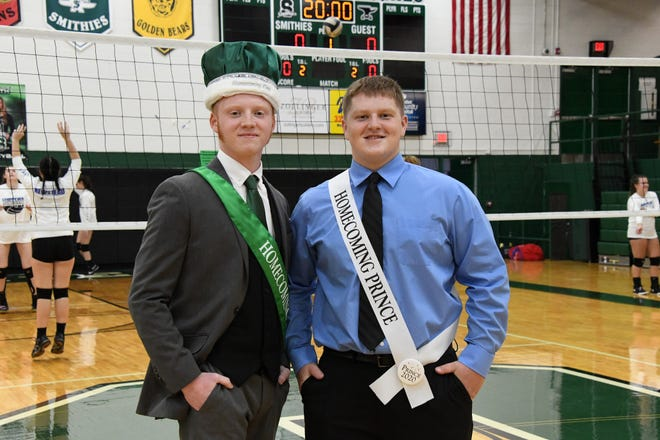 Senior Wesley Dickens III, left, was crowned homecoming king and Noah Smith named prince before Oct. 8's volleyball game.