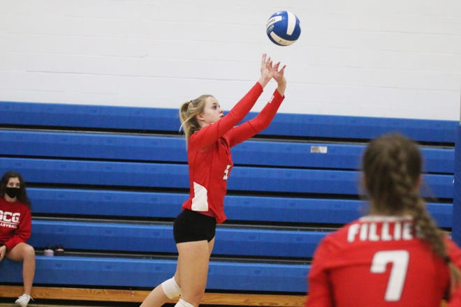 DCG senior Grace Mikota with a volley against Roland-Story on Thursday, Oct. 8 in the Jayette Invitational in Perry.
