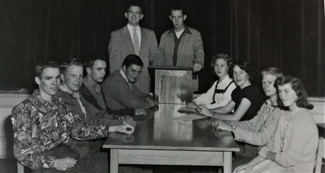 The 1953 Bunnell student council, which represented grades nine through 12, included, from left to right: Don Ray Vincent, David Burnsed, J.I. Sheffield, Gene Knight, Charles Turner (first vice president), Dickie Mercer (president), Betty Berry (treasurer), Gerry Hart, John Barker (second vice president) and Barbara Babbitt.