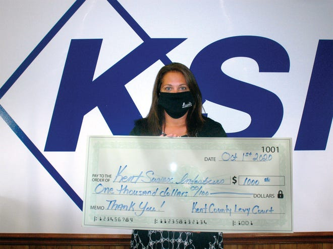 Ann Haggerty, Kent-Sussex Industries Inc.'s vice president of mission advancement, shares the agency's appreciation for the $1,000 Community Service Grant recently received from Kent County Levy Court in support of KSI's transportation services.