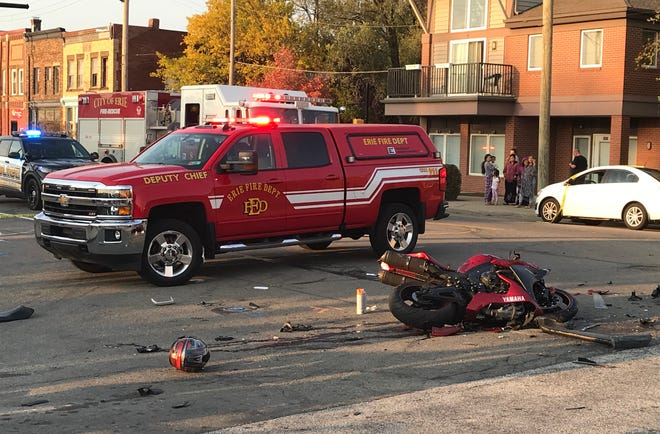 The driver of this motorcycle was critically injured in a collision with a GMC Yukon SUV at East 14th and Parade streets in Erie on Friday, Oct. 9, 2020.