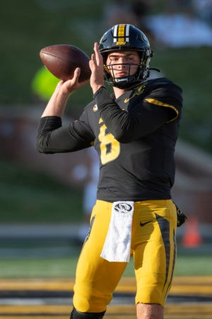 Missouri quarterback Connor Bazelak warms up before the season opener against Alabama. The redshirt freshman will get the start Saturday against No. 17 LSU.