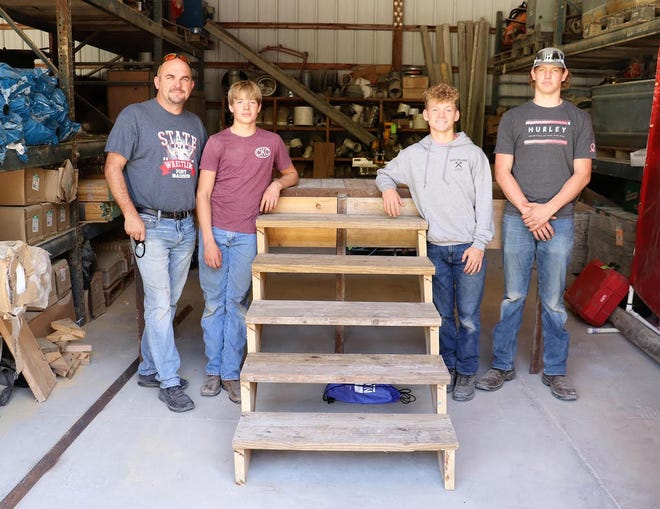 Fort Madison High School students were the winners of Carl A. Nelson 4th annual High School Skills Challenge. The winners are shown, from left, Clint Kobelt, instructor, Owen Kruse, Kane Williams and Trey Edwards.