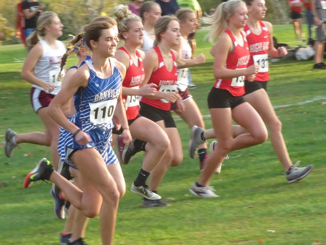 Danville-New London senior Addison Parrott (110) starts the race on her way to winning her second consecutive SEI Superconference cross country  title Thursday at Riverview Country Club in Keosauqua.
