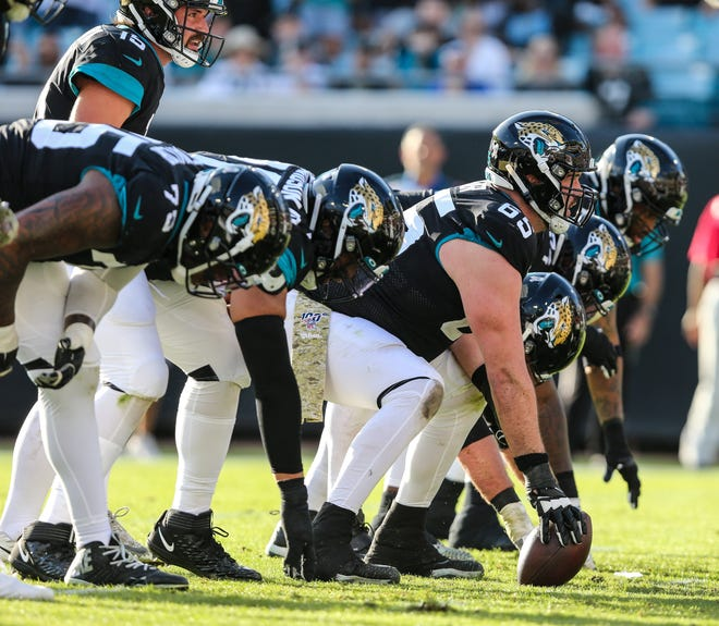 The Jaguars' previously maligned offensive line, seen here in a 2019 game against the Tampa Bay Buccaneers, has made significant improvement through the first four games this season. [Gary Lloyd McCullough/For The Florida Times-Union]
