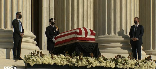 FLCC criminal justice alumnus Jacob Habecker is shown at the head of the casket of the late Supreme Court Justice Ruth Bader Ginsburg. His mother, Jennifer, captured this screenshot while the service was televised on PBS.