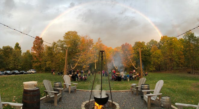 The folks at Kettle Ridge Farm cannot promise a rainbow like this one Thursday for upcoming Maple Weekend events, but the maple producer can promise locally made maple syrup and other maple products.