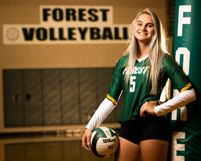 One of Forest's big hitters, Emma Truluck, had a stroke earlier in the year and recovered. She posed for a portrait Thursday afternoon at Forest High School.